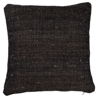 Indian Handwoven Pillow in Tabby Black For Sale