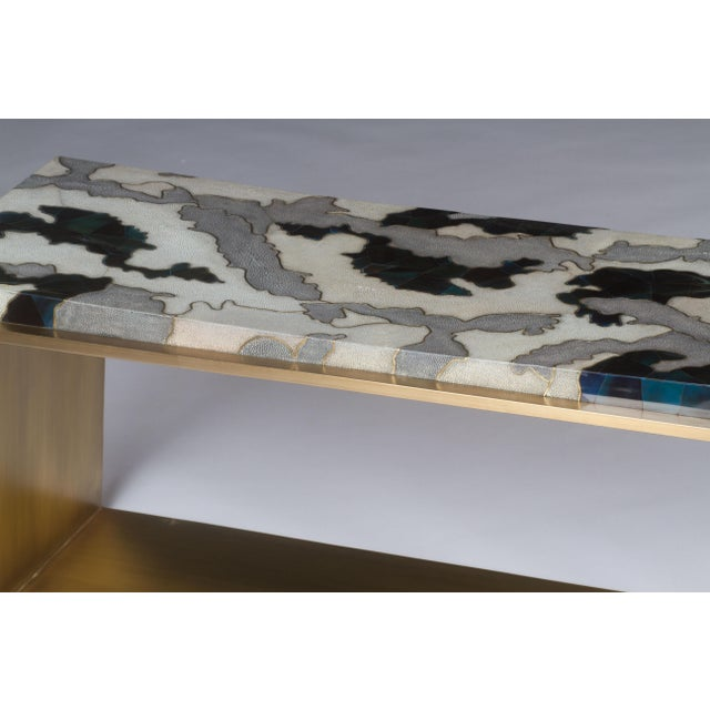 Camouflage-Pattern Inlaid Stool / Mini Bench in Shagreen & Shell by R&y Augousti For Sale - Image 9 of 12