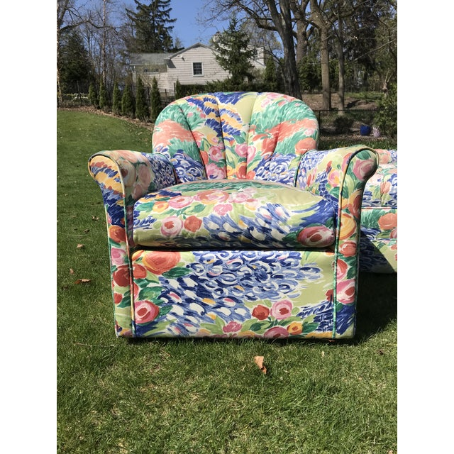 1990s 1990s Vintage Inspired Swivel Lounge Chairs & Ottoman For Sale - Image 5 of 7