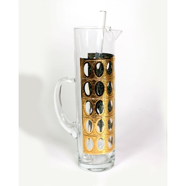 """1960s 22-Karat Gold Culver Ltd. """"Pisa""""Glass Pitcher with Mixing Stick For Sale In Los Angeles - Image 6 of 6"""