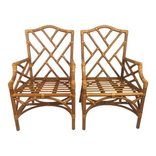 1980s Chinoiserie Rattan Chairs - a Pair For Sale
