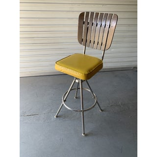 Mid-Century Modern Barstools Yellow Seats- A Pair Preview