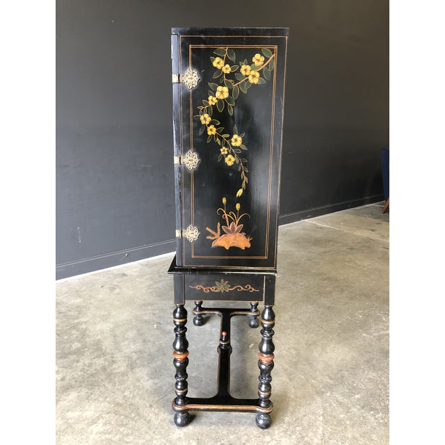 1920s Antique Black Lacquer Chinese Cabinet For Sale - Image 9 of 11