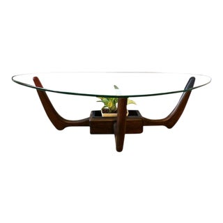 Kroehler Mid Century Modern Glass Top Coffee Table With Planter For Sale