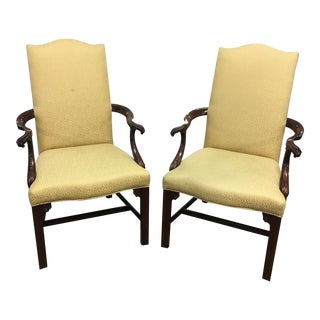 Early 21st Century Vintage Henkel Harris Chippendale Library Chairs - a Pair For Sale