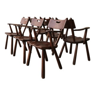 Set of 6 California Modern Studio Craft Primitive Wood Dining Chairs For Sale