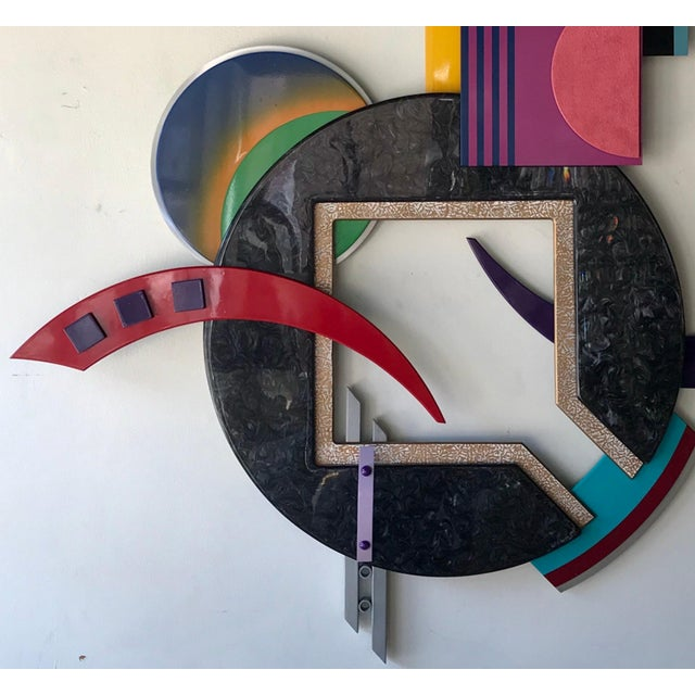 Memphis Style Multi-Media Wall Sculpture For Sale - Image 9 of 10