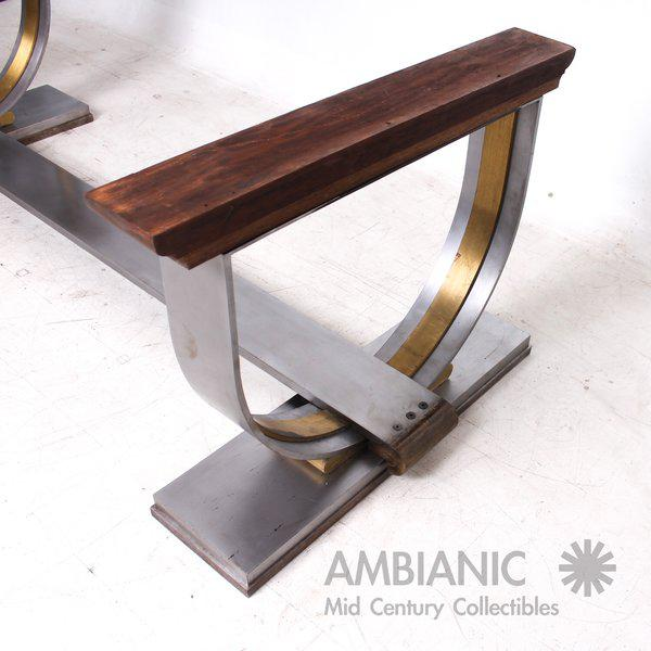 Steel and Brass Dining Table Base Attributed to Arturo Pani For Sale In San Diego - Image 6 of 7