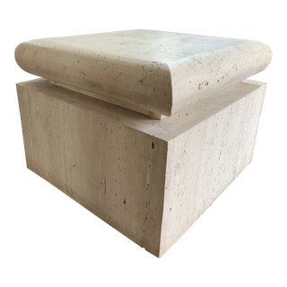 Mid Century Travertine Side Table For Sale