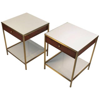 Harvey Probber Milk Glass, Brass and Walnut Midcentury Nightstands