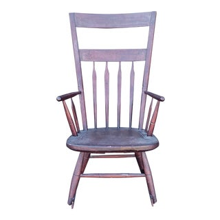 Antique Early 19th Century Country Primitive Pine Arrow Back Spindle Rocker Rocking Chair C1810 For Sale