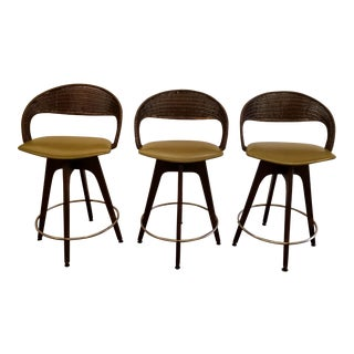 Chet Beardsley Mid-Century Modern Bar Stools, Set 3 For Sale