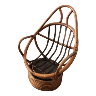 1970s Vintage Boho Rattan Swivel Chair For Sale