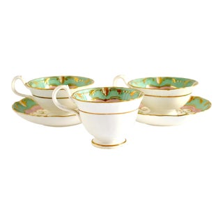 Antique C. 1820-1830 Lilies of the Valley Teacups & Saucers - 5 Pieces For Sale