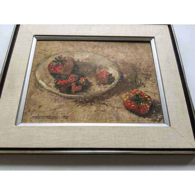 1970s 1970's Oil Still Life Painting of Strawberries, Signed by Artist Masterson and Dated 1972 For Sale - Image 5 of 6