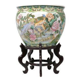 Hand-Painted Fish Bowl With Pheasants and Stand