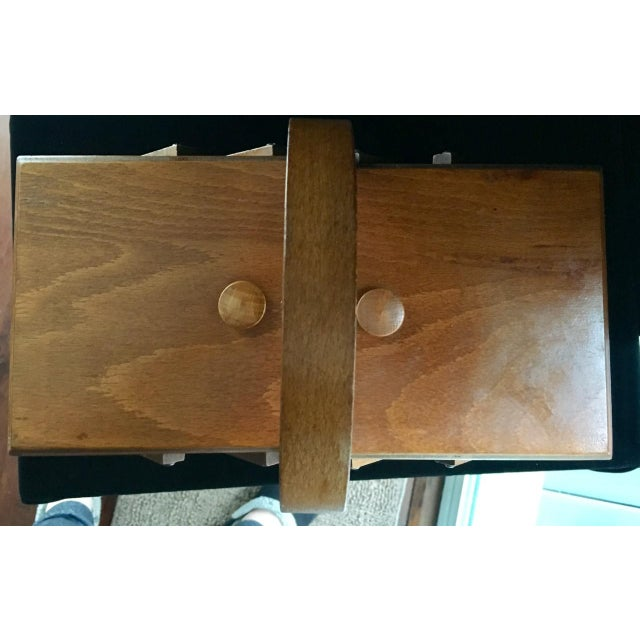 Mid-Century Modern 1950s Mid-Century Modern Beechwood Cantilever Expandable Sewing Box For Sale - Image 3 of 4