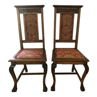 Late 19th Century Antique Carved Oak Claw Foot Side Chairs - a Pair For Sale