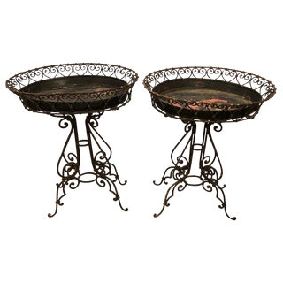 Pair of Wrought Iron Planter Tables With Original Inserts For Sale