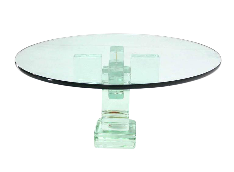 Merveilleux Iridescent Glass Block Base Round Coffee Table   Image 1 Of 5