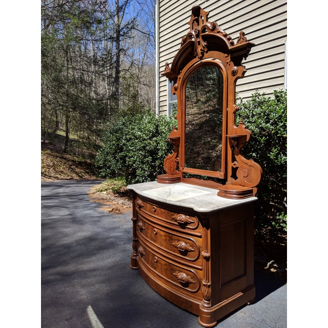 20th Century Renaissance Revival 3-Drawer Marble Top Walnut Dresser & Vanity Mirror For Sale - Image 4 of 13