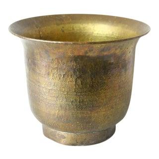 Vintage Hammered Brass Planter For Sale