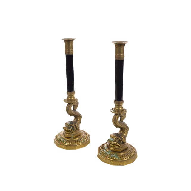 Antique French Brass Candle sticks w/Dolphins - Pair - Image 1 of 9