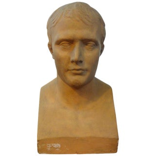 19th Century Antique Monumental French Patinated Plaster Bust of Napoleon Sculpture For Sale