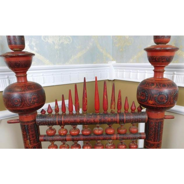 Antique Indian Sankheda Red Lacquered Armchair - Image 6 of 10