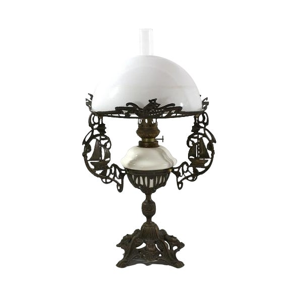 Brass & Milk Glass 1880s Sailing Ship Lamp - Image 1 of 6