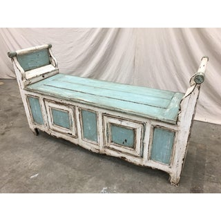 Fabulous 18th C French Painted Hall Bench With Storage Preview