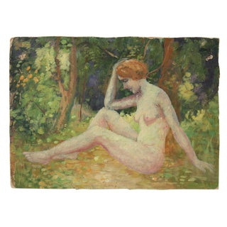 Impressionist Female Figure in Landscape Oil Painting, Circa 1900-1930s For Sale