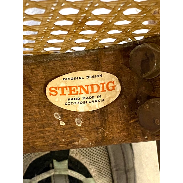 Rare Antique Stendig Set of 4 Bentwood French Stitched Nylon Cane Wood Dining Chairs For Sale In New York - Image 6 of 13