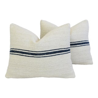 "Navy Striped French Textile Grain-Sack Feather/Down Pillows 20"" X 16"" - Pair For Sale"