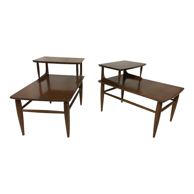 Danish Mid-Century Walnut End Tables - A Pair For Sale