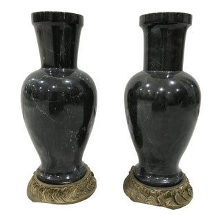 Pair of Vintage Neoclassical Black Marble Vases on Gilt Bronze Base For Sale