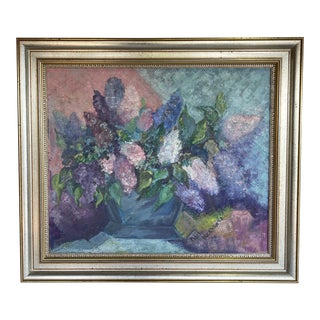 Mid 20th Century Floral Still Life Painting by Adele Buckhantz, Framed For Sale