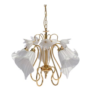 Italian Murano Glass Calla Lily Gold-Plated Brass Chandelier by Franco Luce For Sale