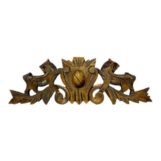 French Carved Lion Crest Pediment For Sale