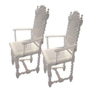 A Pair of White Antique French Hunting Chairs For Sale