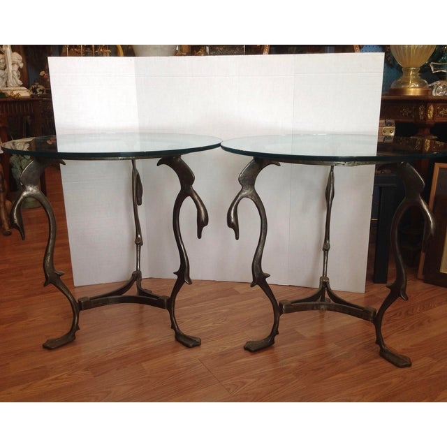 Mid-Century Modern Pair of Midcentury French Steel Swan Motif Tables For Sale - Image 3 of 7