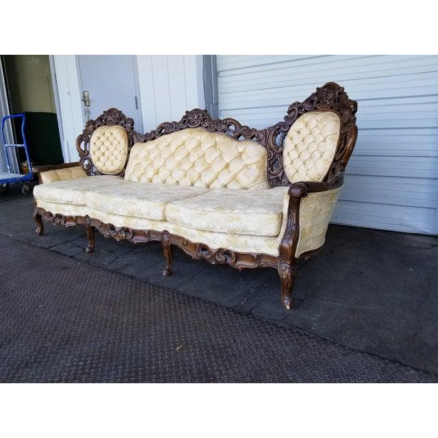 Vintage Victorian Carved Wood Sofa For Sale - Image 4 of 10