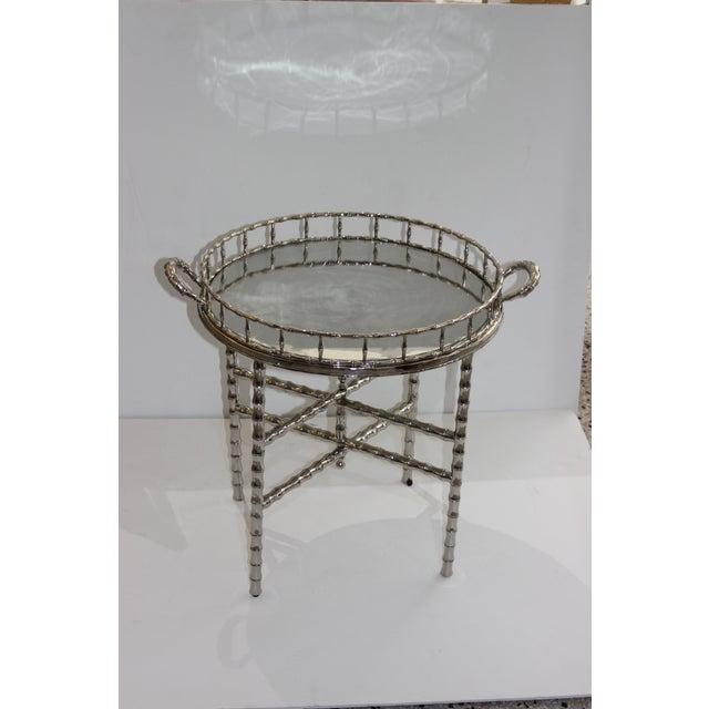 1960s Faux Bamboo 1960s Nickel Plated Folding Tray Table in Style of Maison Baguès For Sale - Image 5 of 11