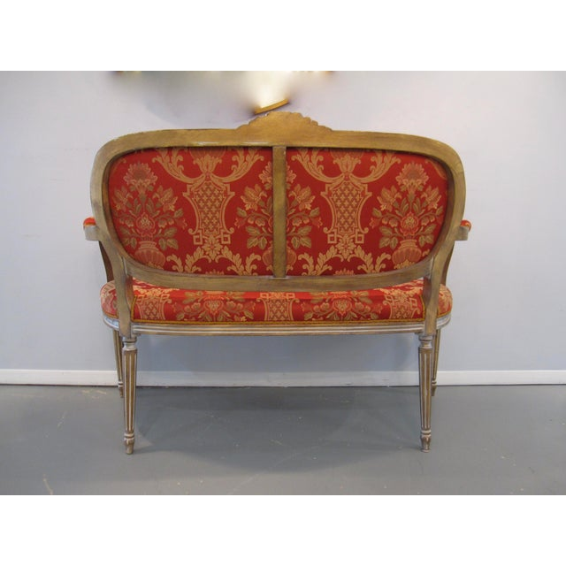Scalamandre Scalamandre Upholstered Louis XVI Settee For Sale - Image 4 of 6