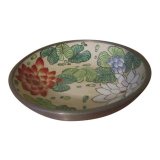 Japanese Porcelain Bowl With Pewter Casing