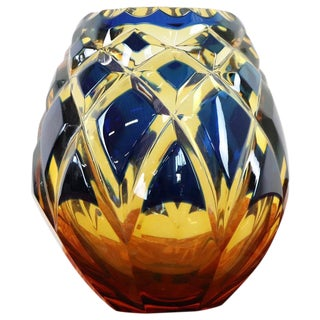 20th Century Crystal Vase in Blue and Amber Color by Agarthi For Sale