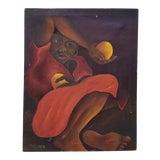 """Image of M. Dresrosiers (Haitian, B.1927) """"Woman W/ Citrus"""" Original Oil Painting C.1950s For Sale"""