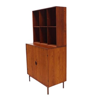 Peter Hvidt Solid Teak Bookcase Two Doors Chest of Drawers Cabinet Dowel Legs For Sale