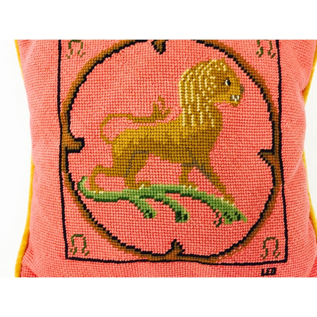 "Vintage Needlepoint ""Leo"" Lion Pillow - Image 5 of 7"
