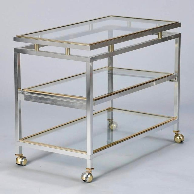 Mid Century Chrome Brass and Glass Serving Trolley in Style of Maison Jansen - Image 2 of 8